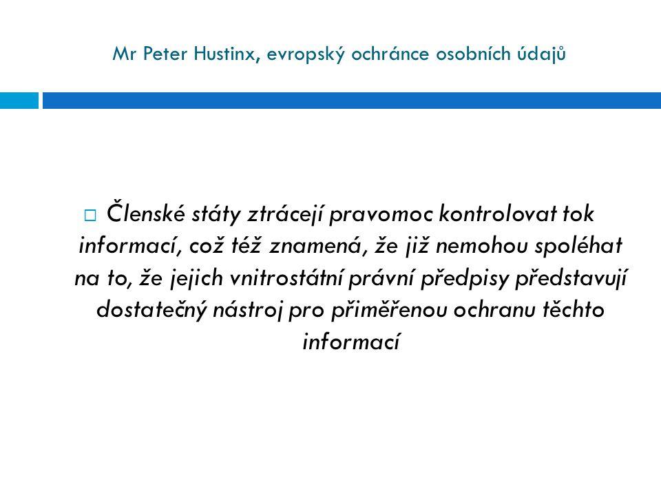 Mr Peter Hustinx, evropský ochránce osobních údajů