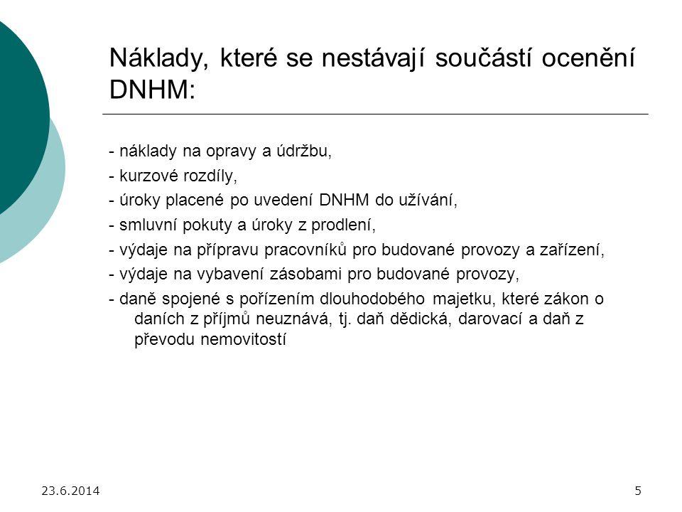 Náklady, které se nestávají součástí ocenění DNHM: