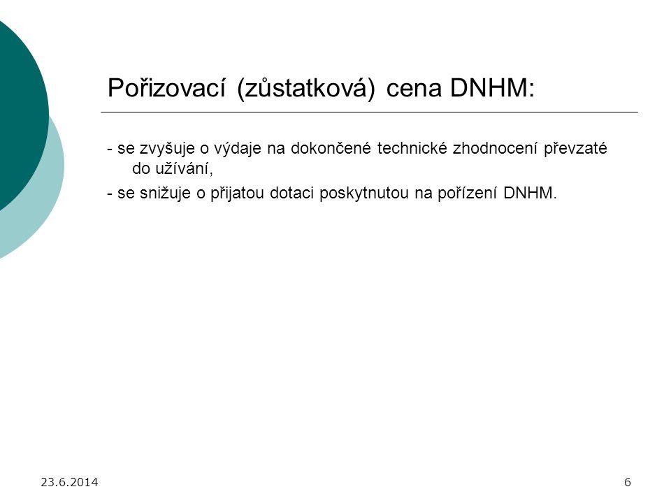 Pořizovací (zůstatková) cena DNHM: