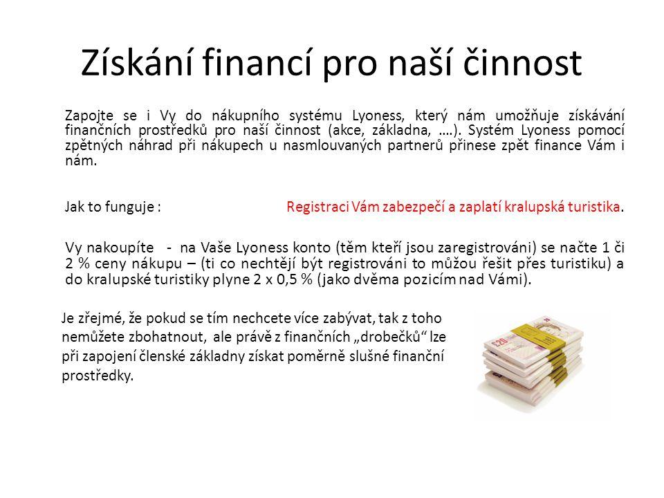 Získání financí pro naší činnost