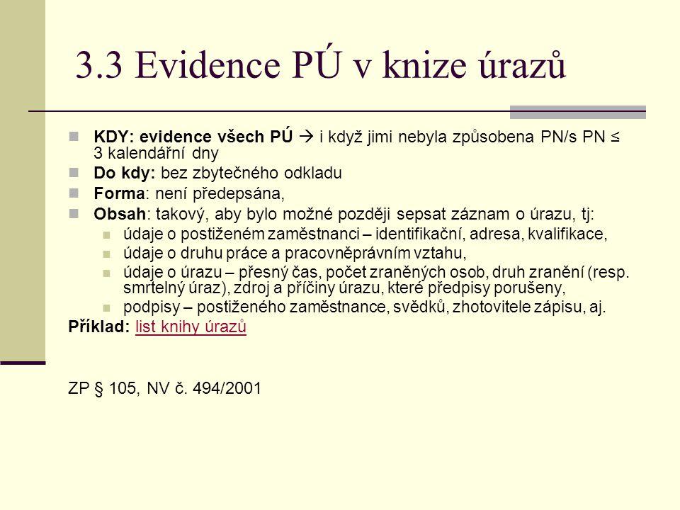 3.3 Evidence PÚ v knize úrazů