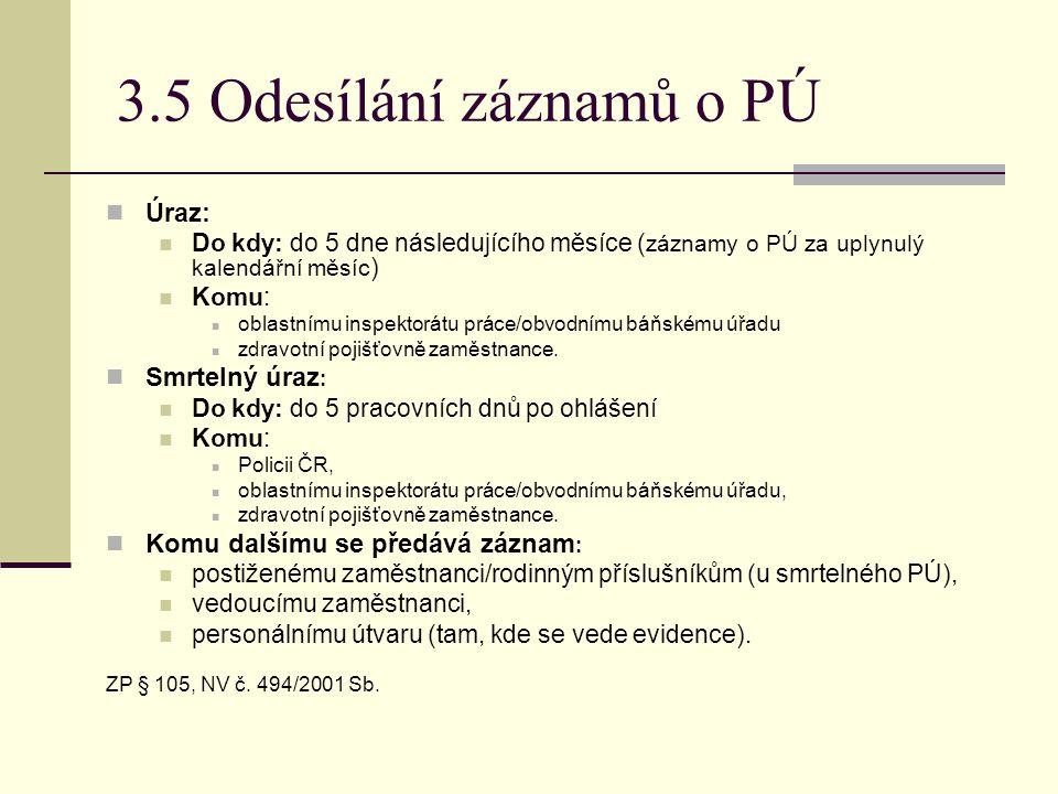 3.5 Odesílání záznamů o PÚ Úraz: Smrtelný úraz: