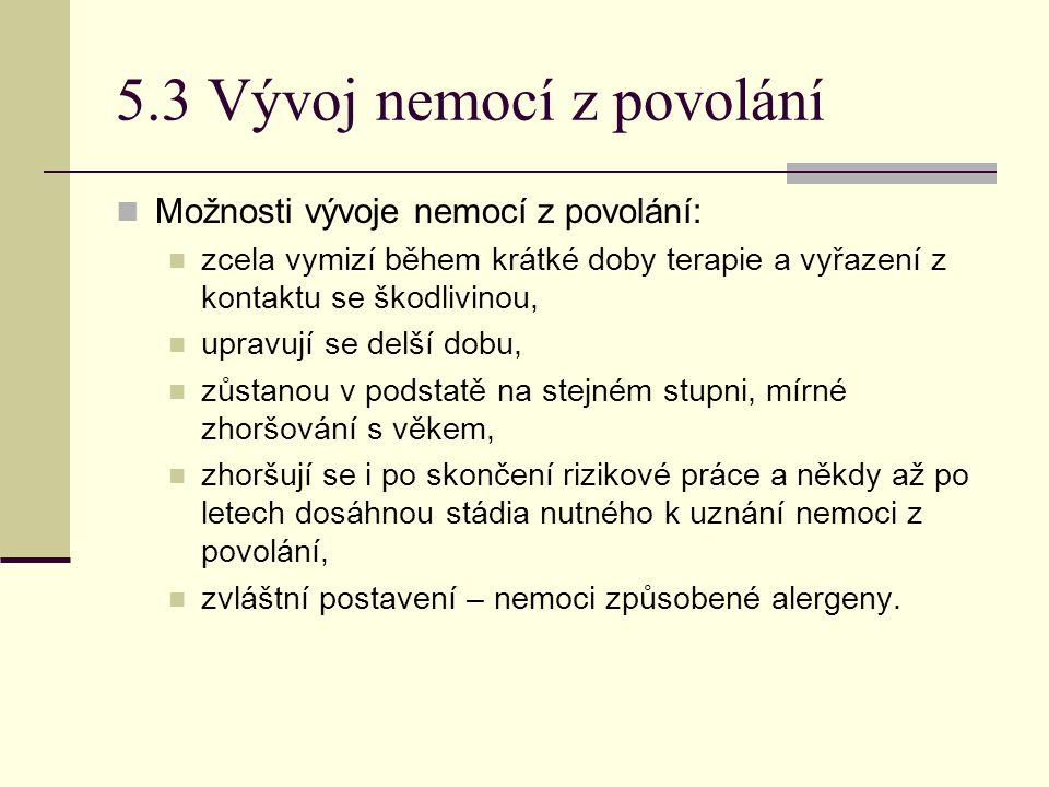 5.3 Vývoj nemocí z povolání