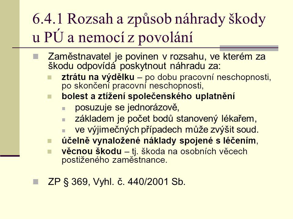 6.4.1 Rozsah a způsob náhrady škody u PÚ a nemocí z povolání