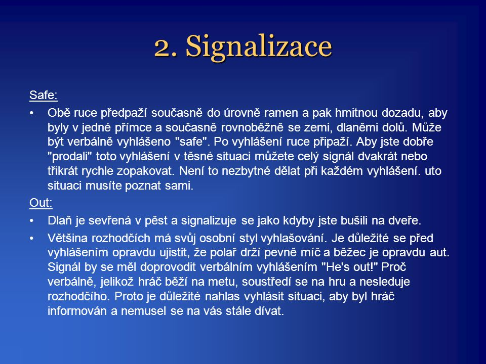 2. Signalizace Safe: