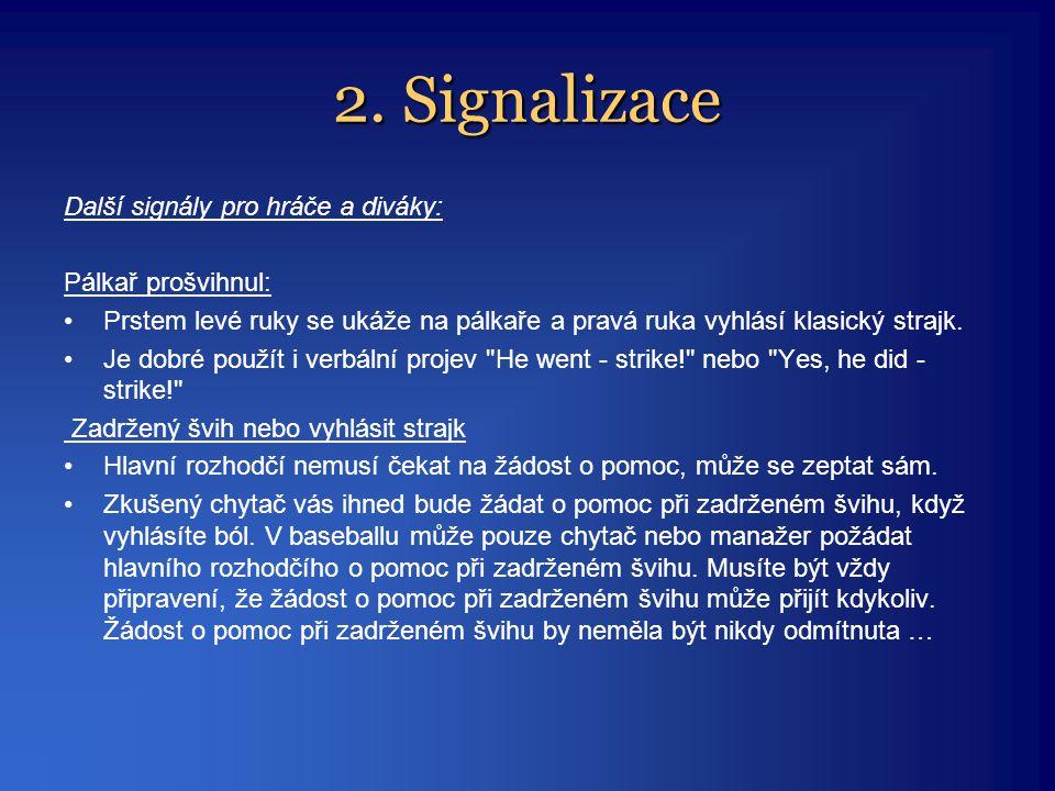 2. Signalizace Další signály pro hráče a diváky: Pálkař prošvihnul: