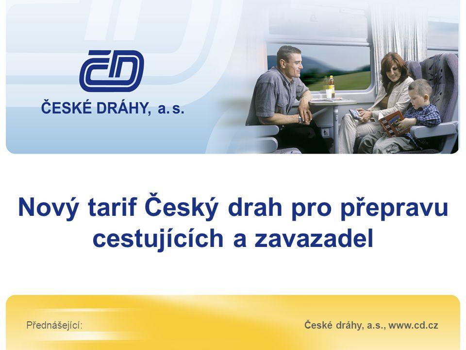 Nový tarif Český drah pro přepravu cestujících a zavazadel