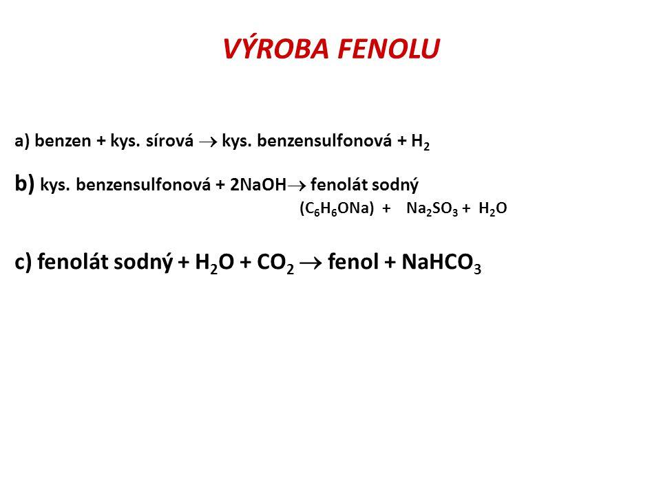VÝROBA FENOLU b) kys. benzensulfonová + 2NaOH fenolát sodný