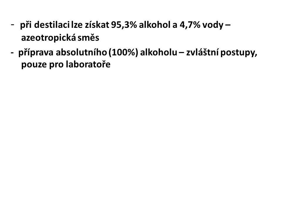 - při destilaci lze získat 95,3% alkohol a 4,7% vody – azeotropická směs