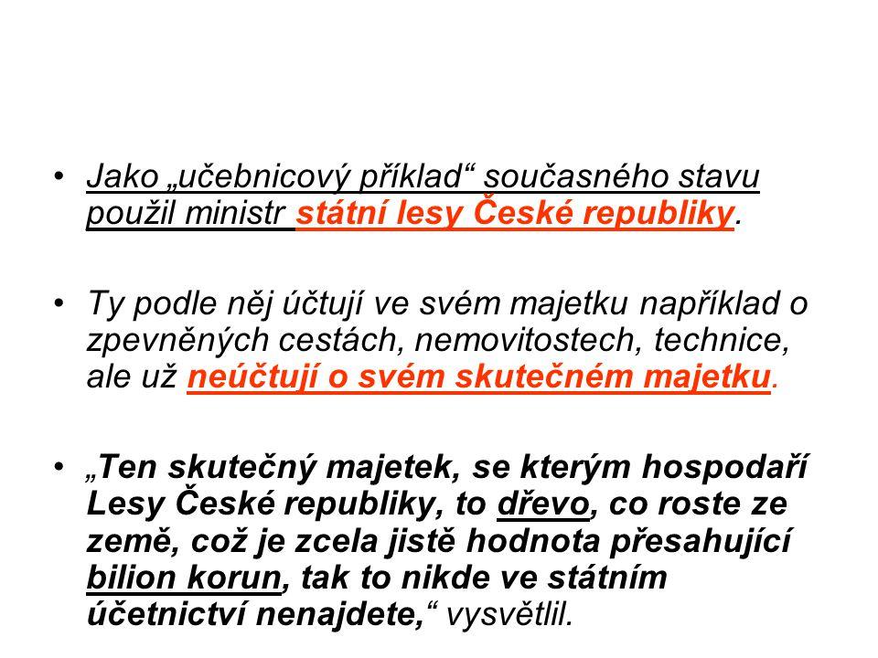 """Jako """"učebnicový příklad současného stavu použil ministr státní lesy České republiky."""
