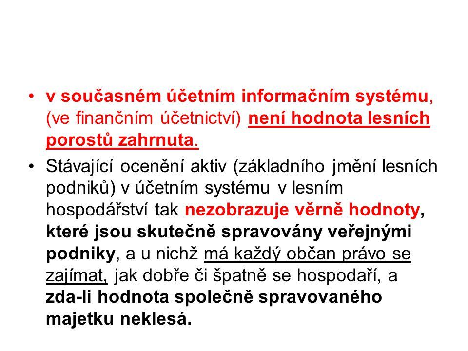 v současném účetním informačním systému, (ve finančním účetnictví) není hodnota lesních porostů zahrnuta.