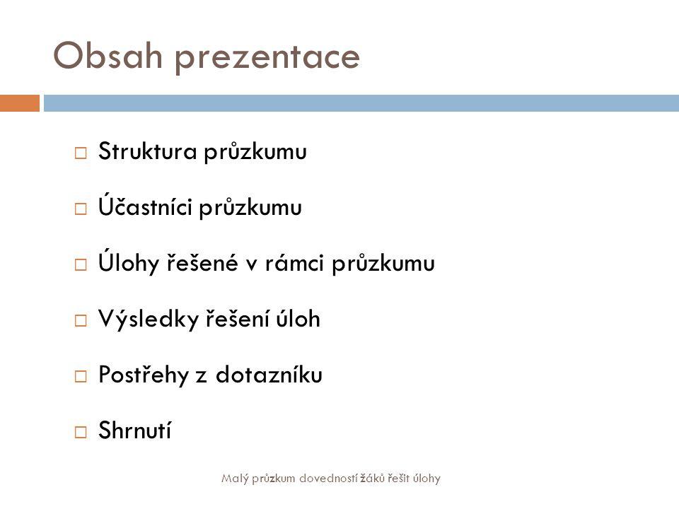 Obsah prezentace Struktura průzkumu Účastníci průzkumu