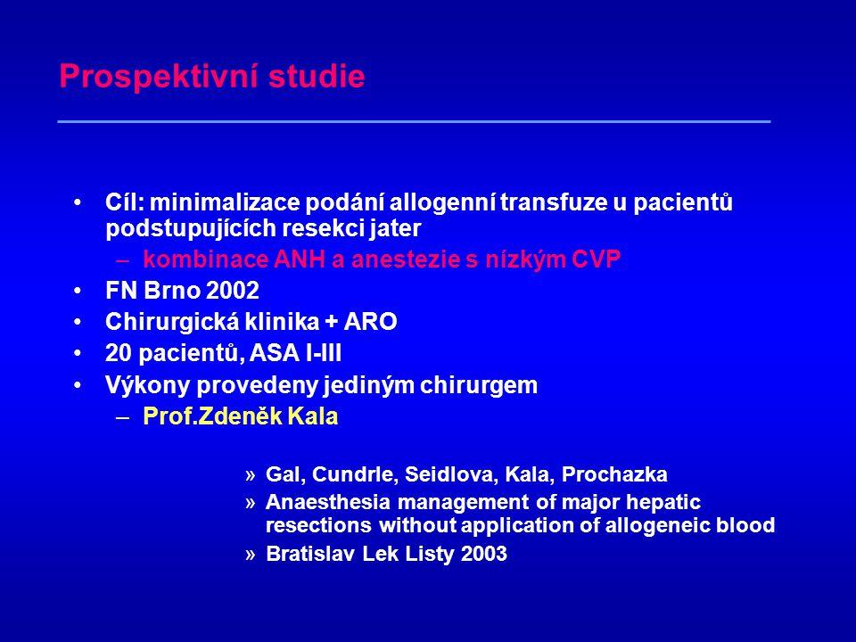 Prospektivní studie Cíl: minimalizace podání allogenní transfuze u pacientů podstupujících resekci jater.