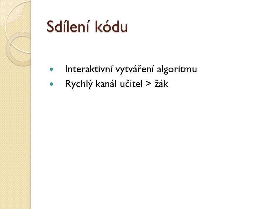 Sdílení kódu Interaktivní vytváření algoritmu