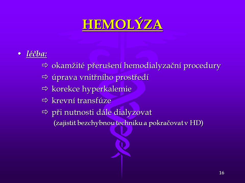 HEMOLÝZA léčba: okamžité přerušení hemodialyzační procedury