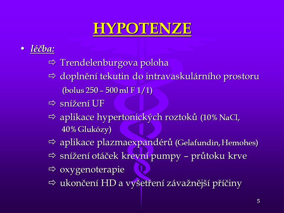 HYPOTENZE léčba: Trendelenburgova poloha