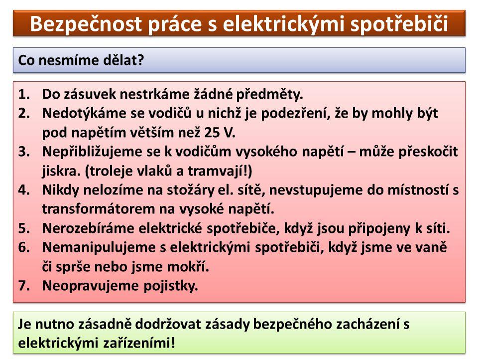 Bezpečnost práce s elektrickými spotřebiči