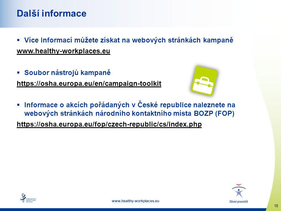 Další informace Více informací můžete získat na webových stránkách kampaně. www.healthy-workplaces.eu.