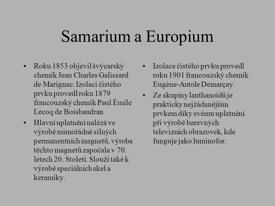 Samarium a Europium