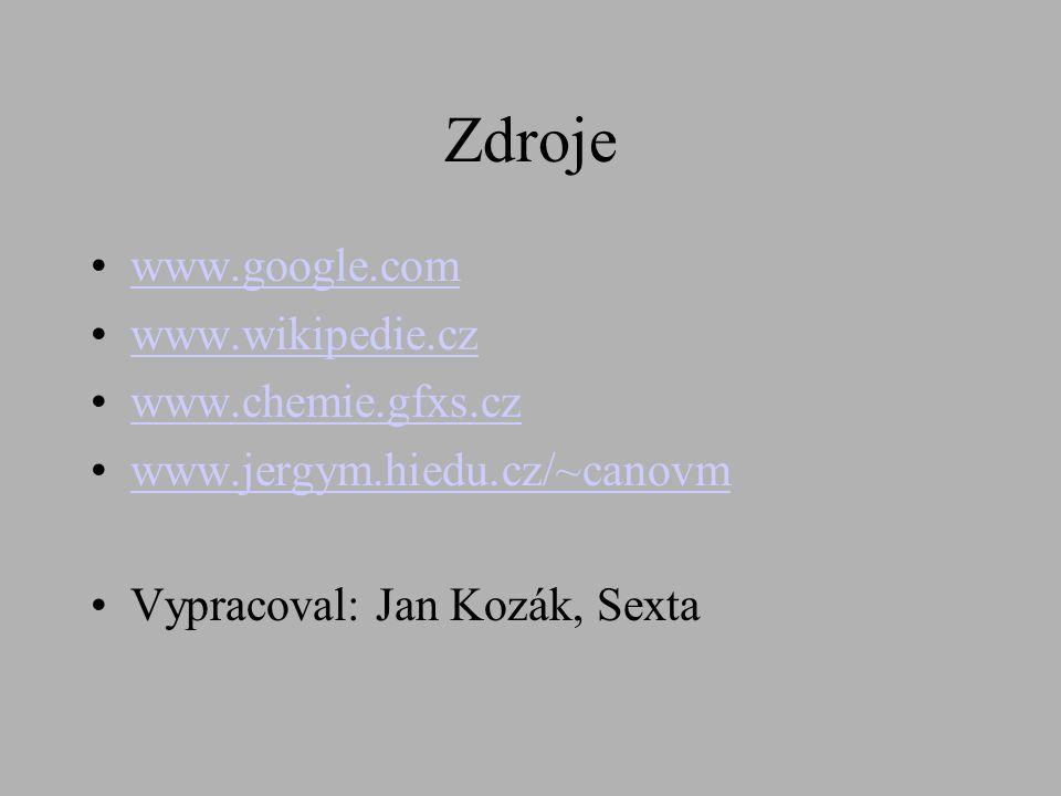 Zdroje www.google.com www.wikipedie.cz www.chemie.gfxs.cz