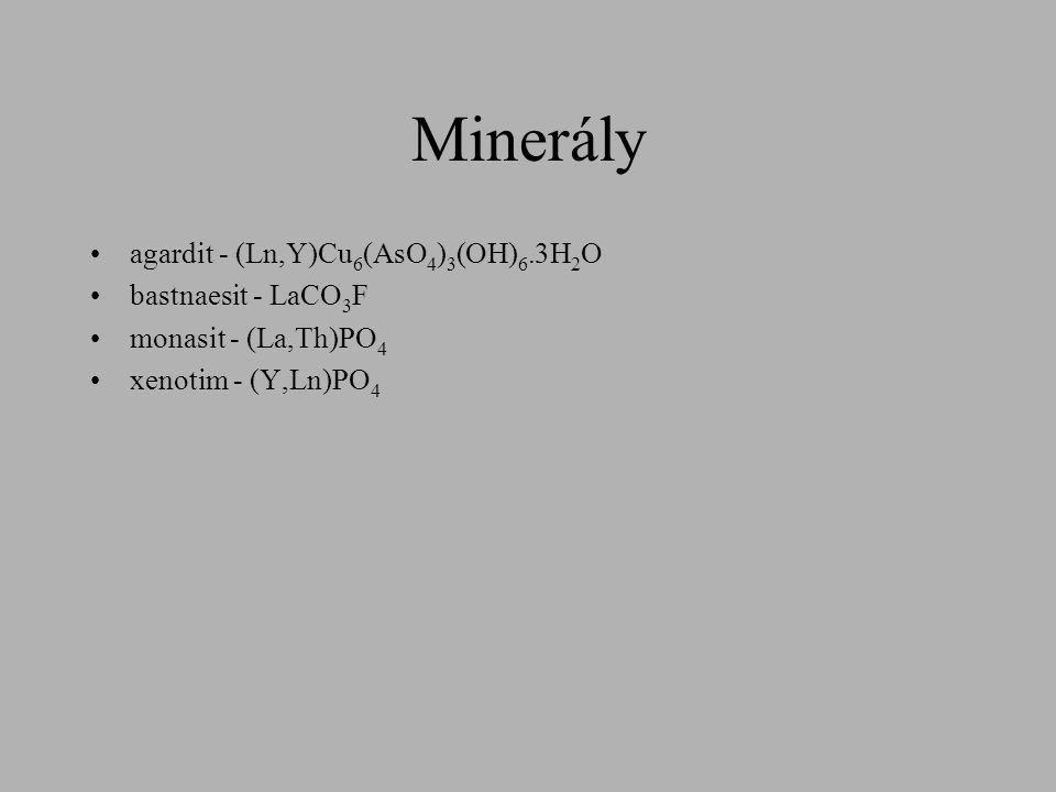 Minerály agardit - (Ln,Y)Cu6(AsO4)3(OH)6.3H2O bastnaesit - LaCO3F