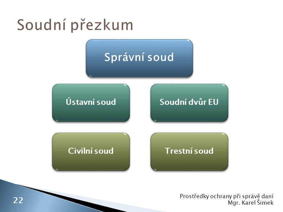 Soudní přezkum Správní soud Ústavní soud Soudní dvůr EU Civilní soud
