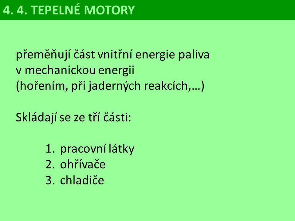 4. 4. TEPELNÉ MOTORY přeměňují část vnitřní energie paliva v mechanickou energii (hořením, při jaderných reakcích,…)