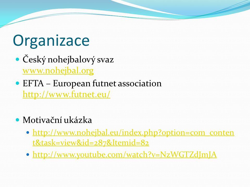 Organizace Český nohejbalový svaz www.nohejbal.org