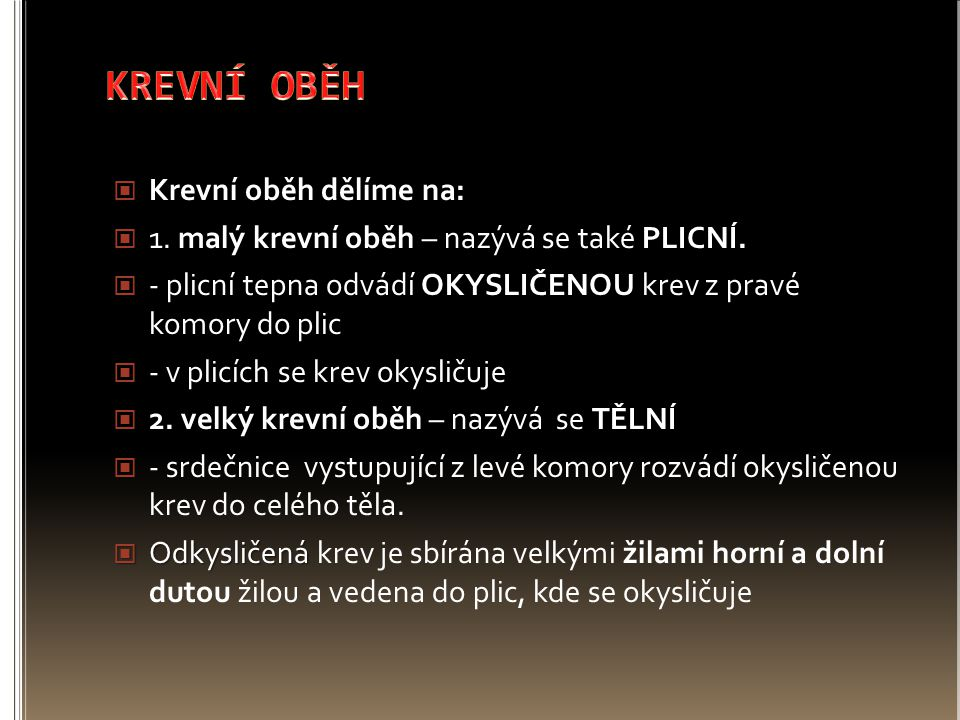 KREVNÍ OBĚH Krevní oběh dělíme na: