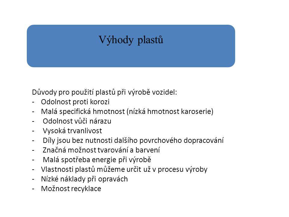 Výhody plastů Důvody pro použití plastů při výrobě vozidel: