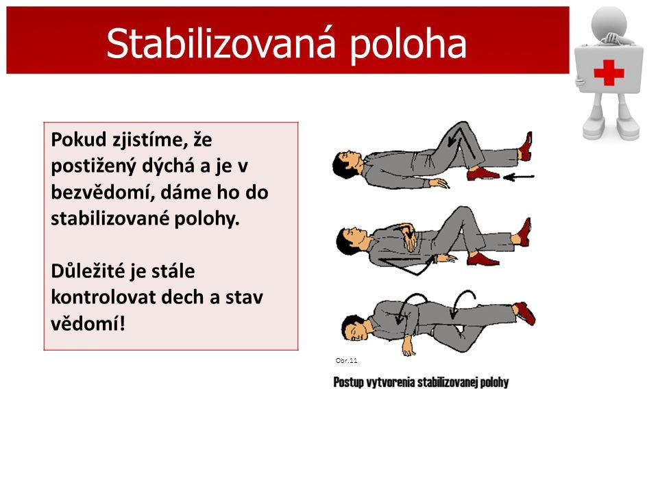 Stabilizovaná poloha Pokud zjistíme, že postižený dýchá a je v bezvědomí, dáme ho do stabilizované polohy.