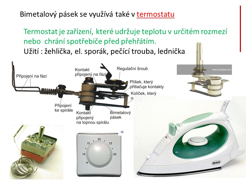 Bimetalový pásek se využívá také v termostatu