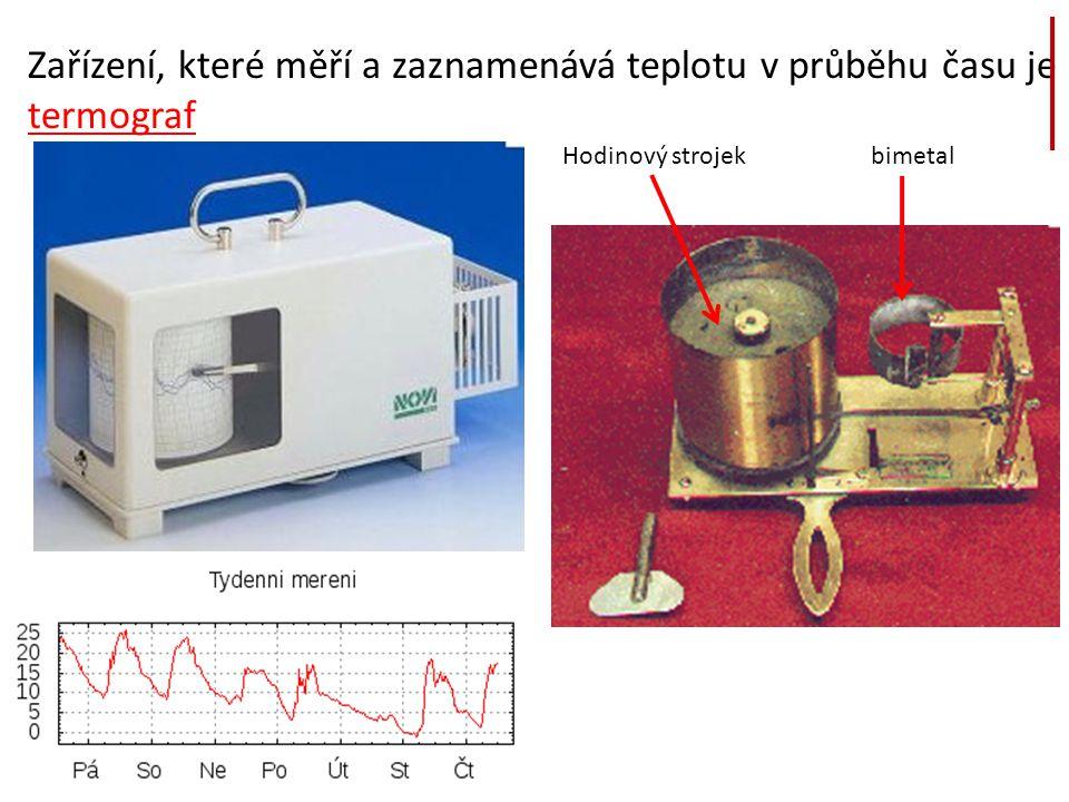 Zařízení, které měří a zaznamenává teplotu v průběhu času je termograf