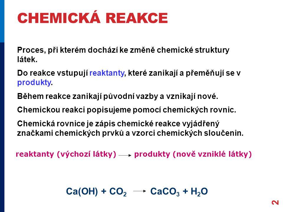 Chemická reakce Ca(OH) + CO2 CaCO3 + H2O