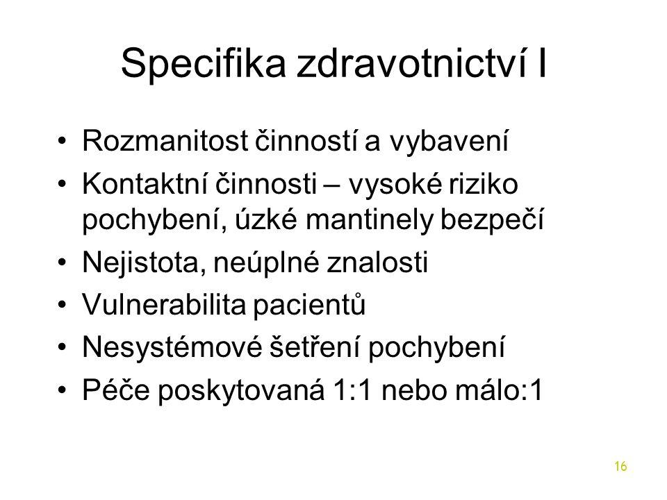 Specifika zdravotnictví I