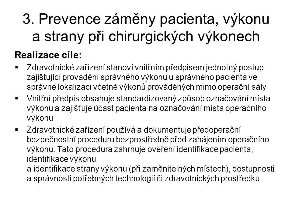 3. Prevence záměny pacienta, výkonu a strany při chirurgických výkonech