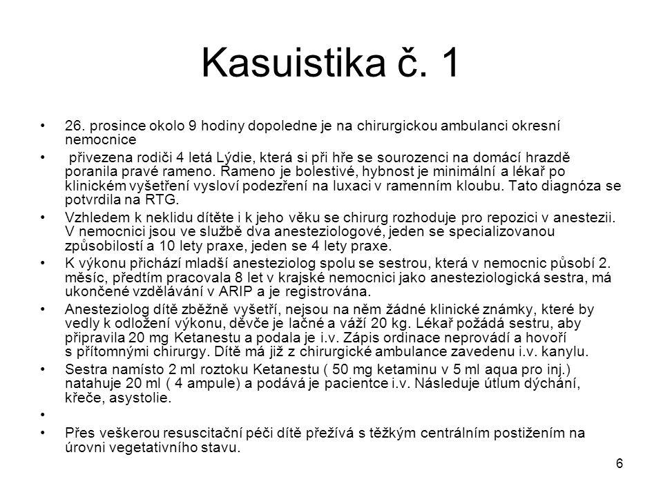 Kasuistika č. 1 26. prosince okolo 9 hodiny dopoledne je na chirurgickou ambulanci okresní nemocnice.
