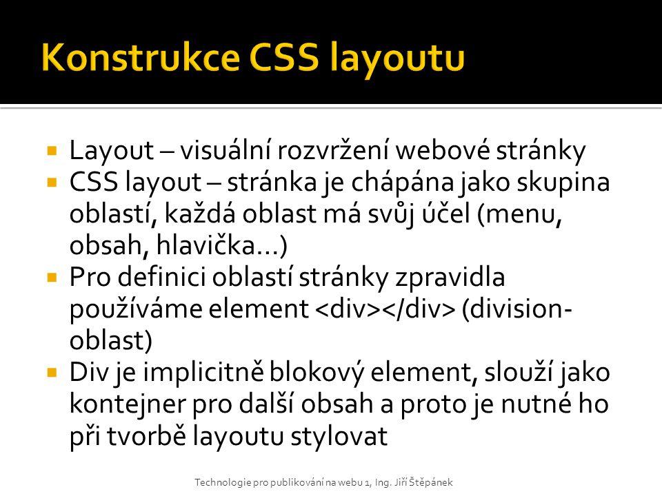 Konstrukce CSS layoutu