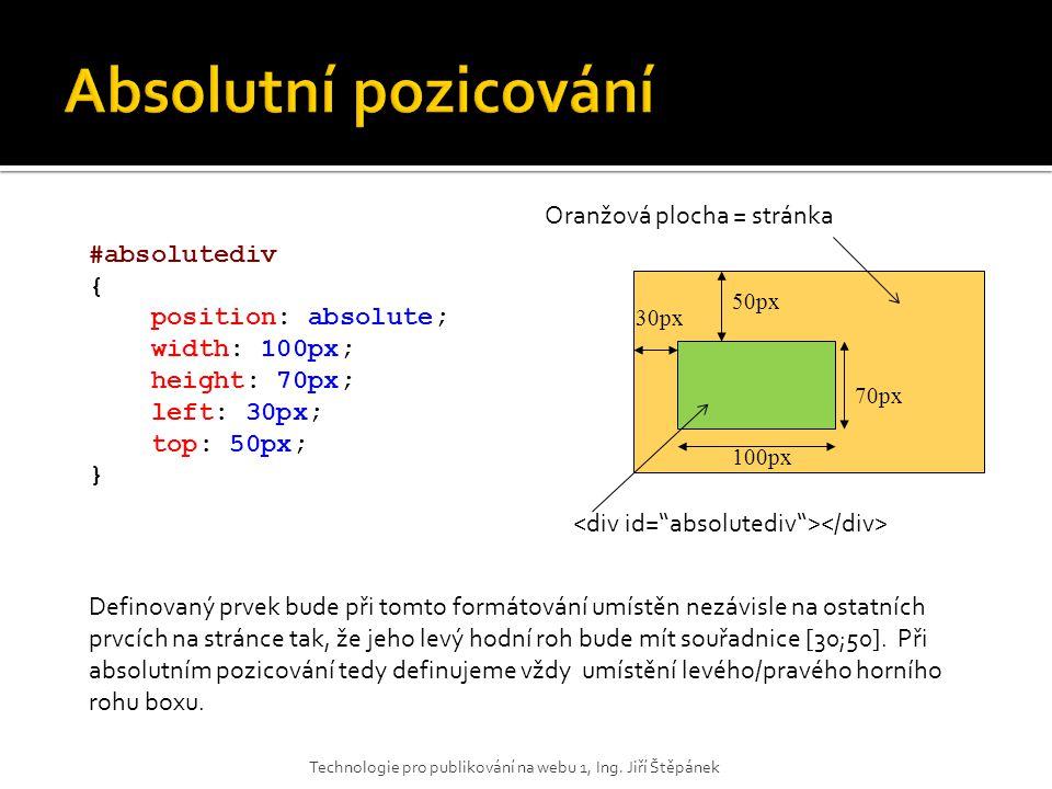 Absolutní pozicování Oranžová plocha = stránka #absolutediv {