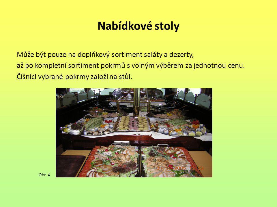 Nabídkové stoly Může být pouze na doplňkový sortiment saláty a dezerty, až po kompletní sortiment pokrmů s volným výběrem za jednotnou cenu.