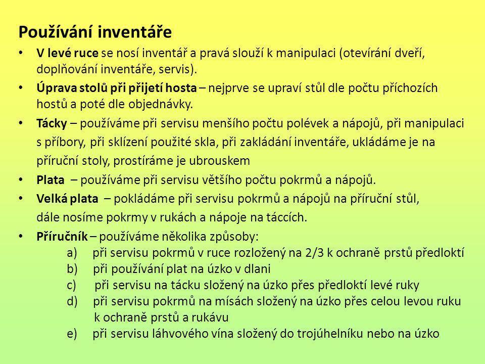 Používání inventáře V levé ruce se nosí inventář a pravá slouží k manipulaci (otevírání dveří, doplňování inventáře, servis).