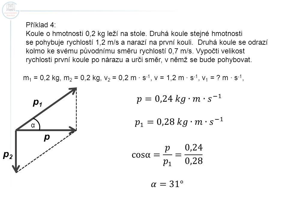 𝑝=0,24 𝑘𝑔∙𝑚∙ 𝑠 −1 p1 𝑝 1 =0,28 𝑘𝑔∙𝑚∙ 𝑠 −1 p cosα= 𝑝 𝑝 1 = 0,24 0,28 p2