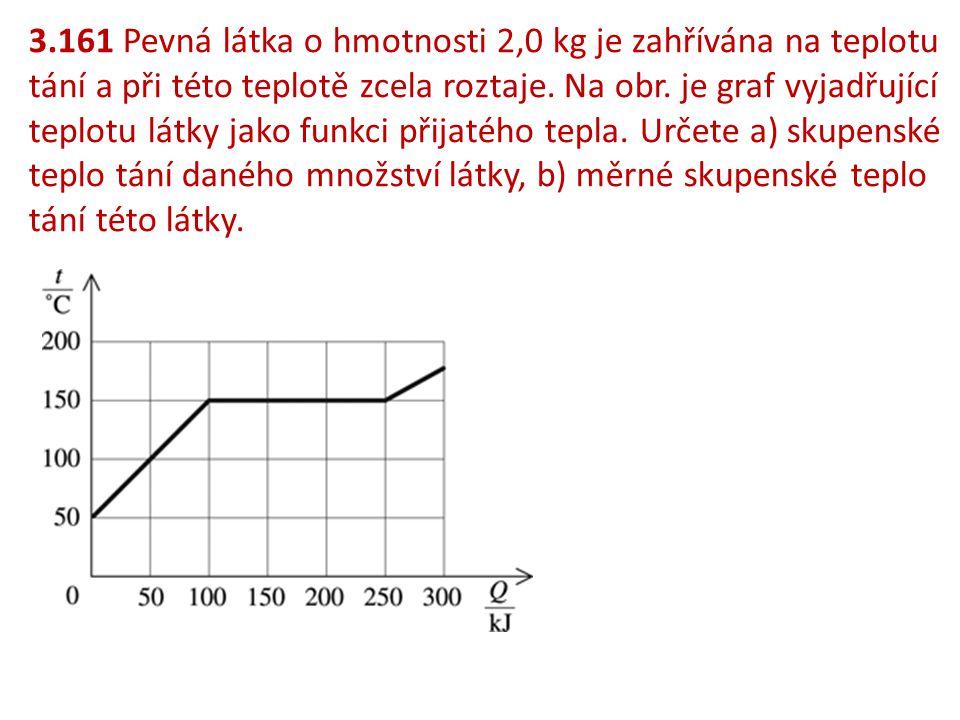 3.161 Pevná látka o hmotnosti 2,0 kg je zahřívána na teplotu tání a při této teplotě zcela roztaje.