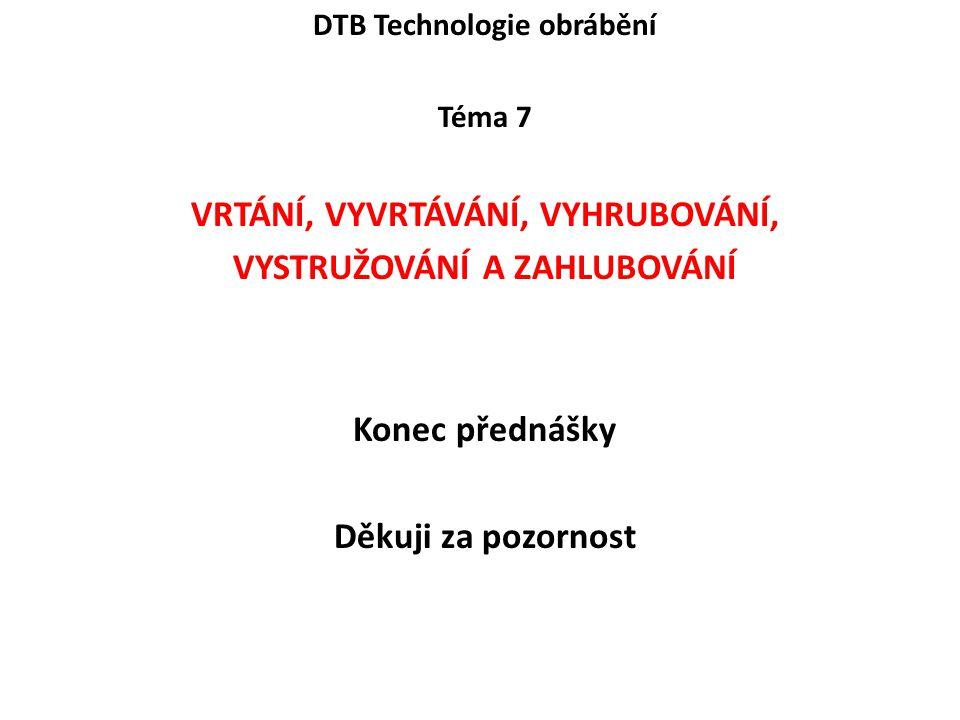 DTB Technologie obrábění VRTÁNÍ, VYVRTÁVÁNÍ, VYHRUBOVÁNÍ,