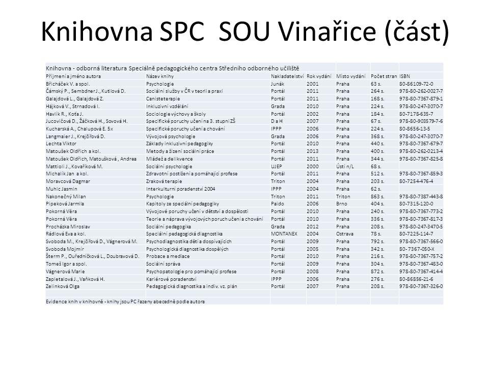 Knihovna SPC SOU Vinařice (část)