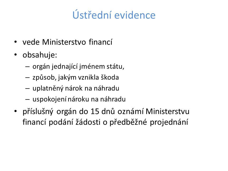 Ústřední evidence vede Ministerstvo financí obsahuje:
