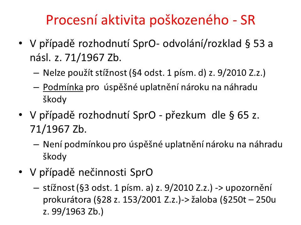 Procesní aktivita poškozeného - SR