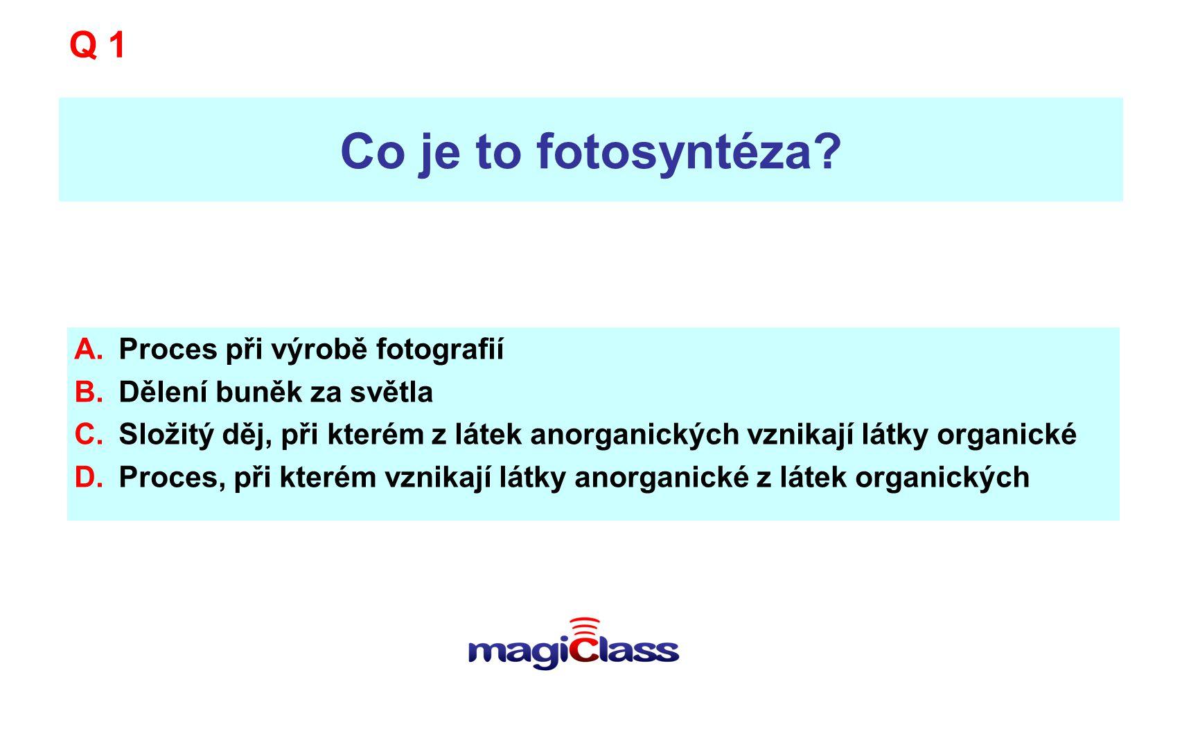 Co je to fotosyntéza Q 1 Proces při výrobě fotografií