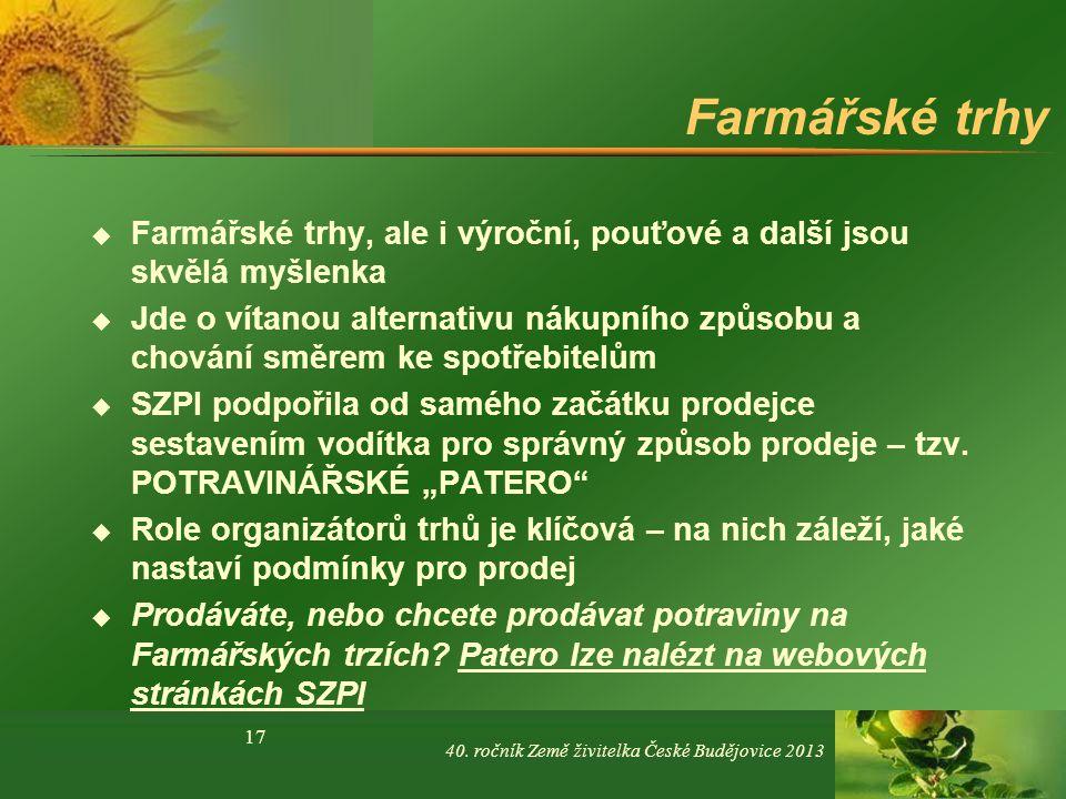 Farmářské trhy Farmářské trhy, ale i výroční, pouťové a další jsou skvělá myšlenka.