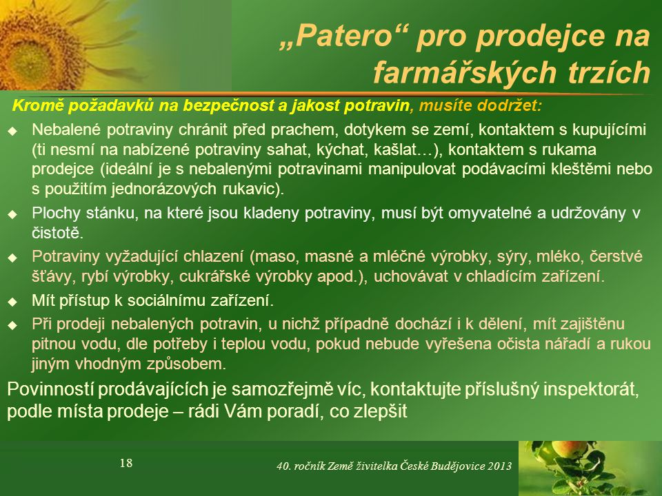 """""""Patero pro prodejce na farmářských trzích"""